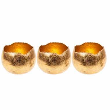 Set van 3x stuks waxinelichthouders/waxinelichthouders goud metaal 10 cm