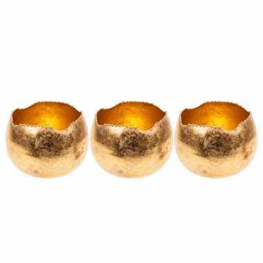 Set van 3x stuks waxinelichthouders/waxinelichthouders goud metaal 9 cm
