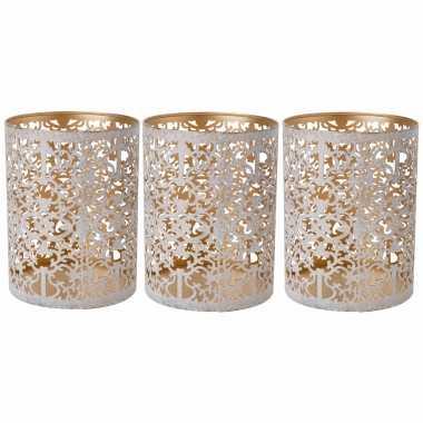 Set van 3x stuks waxinelichthouders/waxinelichthouders goud/white wash 13 cm