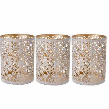 Set van 3x stuks waxinelichthouders/waxinelichthouders goud/white wash 9 cm
