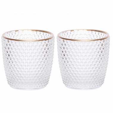 Set van 4x stuks waxinelichthouders/waxinelichthouders bubbel glas transparant 7,5 cm