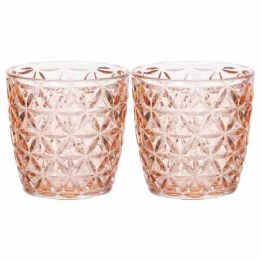 Set van 4x stuks waxinelichthouders/waxinelichthouders glas zalmroze 9 x 9 cm bloemen motief