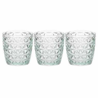 Set van 5x stuks waxinelichthouders/waxinelichthouders glas mintgroen 9 x 9 cm bloemen motief