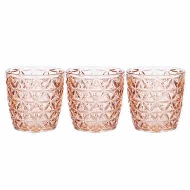 Set van 5x stuks waxinelichthouders/waxinelichthouders glas zalmroze 9 x 9 cm bloemen motief