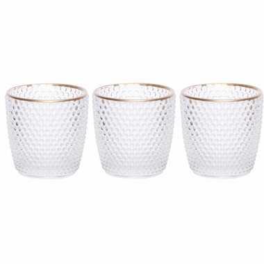 Set van 6x stuks waxinelichthouders/waxinelichthouders bubbel glas transparant 7,5 cm