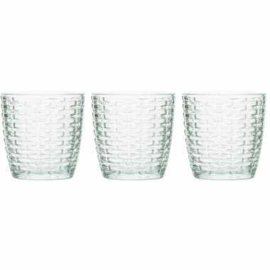 Set van 6x stuks waxinelichthouders/waxinelichthouders glas mintgroen 9 x 9 cm steentjes motief