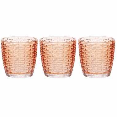 Set van 6x stuks waxinelichthouders/waxinelichthouders glas oranje 9 x 9 cm steentjes motief
