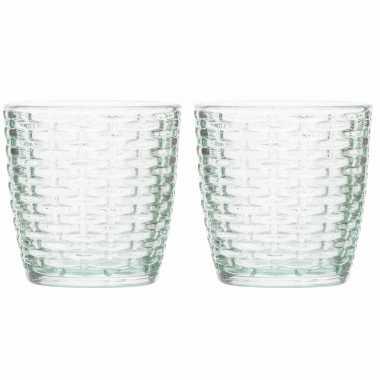 Set van 8x stuks waxinelichthouders/waxinelichthouders glas mintgroen 9 x 9 cm steentjes motief