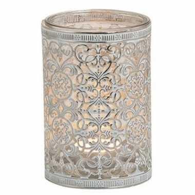 Waxinelicht/waxinelicht houder zilver antiek 12 cm