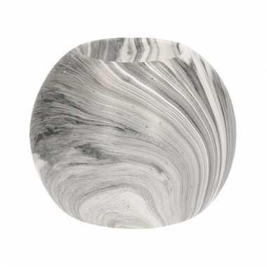 Waxinelichthouder bol grijs marmer 8 cm