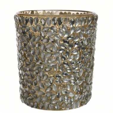 Waxinelichthouder goud met stenen klein