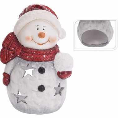 Waxinelichthouder sneeuwpop 15 cm