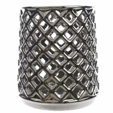 Waxinelichthouder zilver met uitsnede
