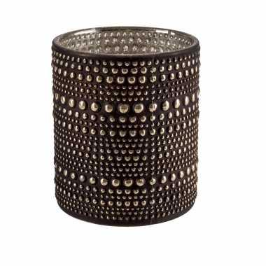 Waxinelichthouders/waxinelichthouders glas bruin 8 cm