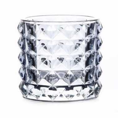 Waxinelichthouders/waxinelichthouders lyon lichtblauw glas 10 cm