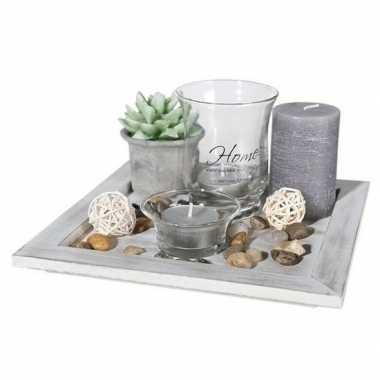 Woondecoratie tafel dienblad met waxinelichtjes 20 cm