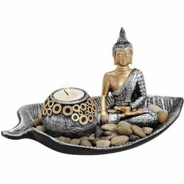 Zilver/goud boeddha beeldje en waxine/waxinelicht houder 25 cm
