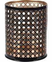 12x waxinelichthouders waxinelichthouders zwart goud metaal 10 cm
