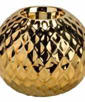 1x gouden waxinelichthouders waxinelichthouders diamond 9 7 cm