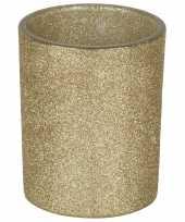 1x gouden waxinelichthouders waxinelichthouders glitter 10 cm