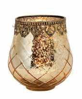 1x gouden waxinelichthouders waxinelichthouders windlichten glas metaal 13 x 14 cm