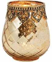 1x gouden waxinelichthouders waxinelichthouders windlichten glas metaal 9 x 10 cm