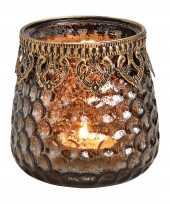 1x waxinelichthouders waxinelichthouders gerookt glas met metalen rand 9 x 9 cm