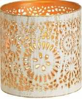 1x waxinelichthouders waxinelichthouders windlichten metaal wit goud rondjes cirkels patroon 11 cm