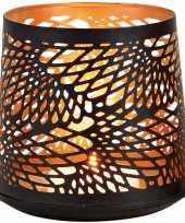 1x waxinelichthouders waxinelichthouders windlichten zwart goud abstract vleugel patroon 13 cm