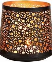 1x waxinelichthouders waxinelichthouders windlichten zwart goud rondjes druppels patroon 13 cm
