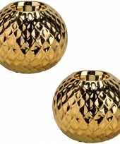 2x gouden waxinelichthouders waxinelichthouders diamond 9 7 cm