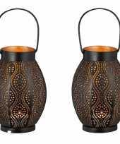 2x metalen waxinelichthouders waxinelichthouders windlichten lantaarns zwart goud 20 cm