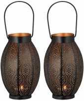 2x metalen waxinelichthouders waxinelichthouders windlichten lantaarns zwart goud 25 cm