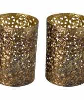 2x stuks metalen waxinelichthouders waxinelichthouders goud grof motief 12 x 17 cm