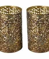 2x stuks metalen waxinelichthouders waxinelichthouders goud grof motief 14 x 21 cm