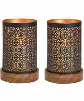 2x waxinelicht waxinelicht houders koper zwart op houten voet 18 x 10 cm