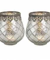 2x waxinelicht waxinelicht houders windlichten antiek zilver 14 x 13 cm metaal glas