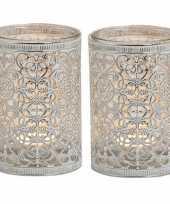 2x waxinelicht waxinelicht houders zilver antiek 12 cm