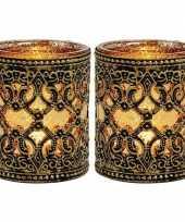 2x waxinelicht waxinelicht houders zwart goud antiek 10 cm