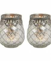 2x waxinelichthouders waxinelichthouders gerookt glas zilver met metalen rand 10 x 9 cm