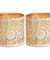 2x waxinelichthouders waxinelichthouders windlichten metaal wit goud rondjes cirkels patroon 11 cm