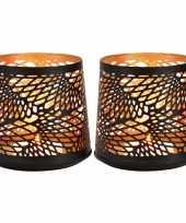 2x waxinelichthouders waxinelichthouders windlichten zwart goud abstract vleugel patroon 13 cm