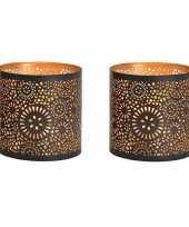 2x waxinelichthouders waxinelichthouders windlichten zwart goud rondjes cirkels patroon 13 cm 10234835