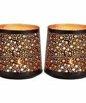 2x waxinelichthouders waxinelichthouders windlichten zwart goud rondjes druppels patroon 13 cm