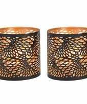 2x waxinelichthouders waxinelichthouders windlichten zwart goud spiraal lijnen patroon 13 cm