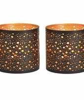 2x waxinelichthouders waxinelichthouders windlichten zwart goud stippen patroon 13 cm