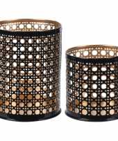 2x waxinelichthouders waxinelichthouders zwart goud 6 en 10cm