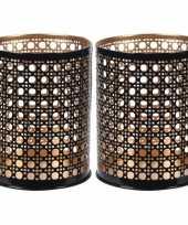 2x waxinelichthouders waxinelichthouders zwart goud metaal 10 cm