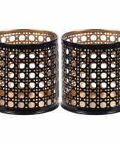 2x waxinelichthouders waxinelichthouders zwart goud metaal 6 cm