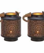 2x waxinelichthouders windlichten lantaarns metaal zwart goud 13 cm